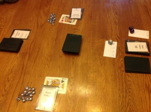 The layout for my very first playtest of Mansion Builder.